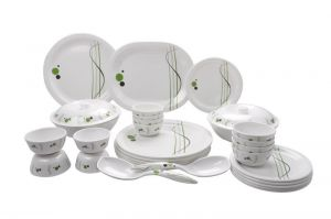 Crockery - Mehul Sonata Dinner Set 31 Pieces Oil & Haldi Daag Resistant Melamine Look