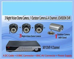 Set For 3 Dome(ir) Cctv Camera, 1 Outdoor And 4 Channels Dvr Cctv Camera Se