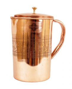 Handmade Pure Copper Designer Jug Pitcher With Lid 1.7 Lt. Storage Drinking