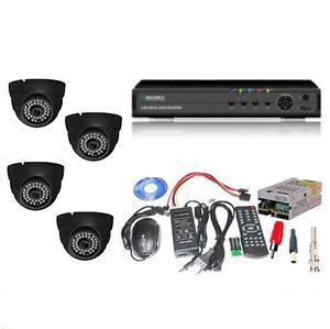 Set Of 4 Night Vision Cctv Camera And 4 Ch Dvr With All Required Connectors
