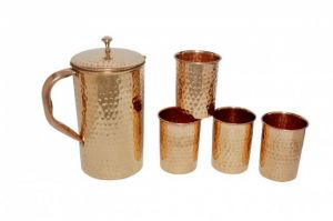 Copper Hammered Set Of1 Jug 2100 Ml With 4 Glass 250 Ml Each - Storage Water Home Hotel