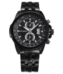 Curren Black Dial Metal Strap Analog Casual Watch For Men