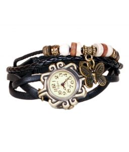 Mf Leather Bracelet Vintage Butterfly Women Wrist Watch - Black