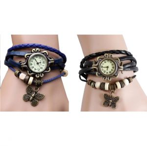 Unique Black & Blue Leather Bracelet Vintage Women Wrist Watch