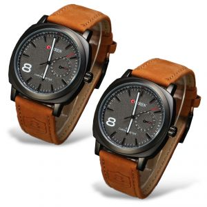 Men's Watches   Leather Belt   Analog - Curren Military Series Brown Sports Analog Watch for Men- Set of 2