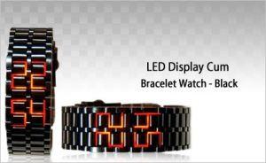 Metal Watches For Men - LED Bracelet Cum Wrist Watch   Free Led Earpick MFLEDBL1