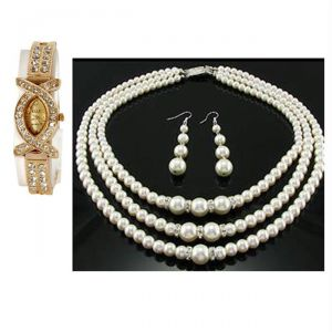Buy 1 Ladies Bracelet Watch & Get Three Line Pearl Necklace Set Free