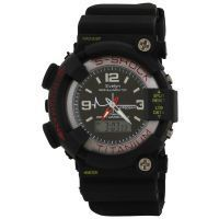 Evelyn Black Analog Stainless Steel Mens Wrist Watch