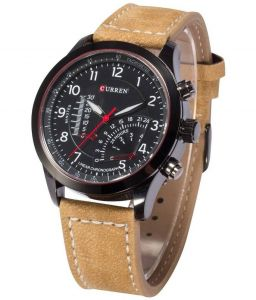 Men's Watches   Leather Belt   Analog - Curren Tan Leather Analog Watch