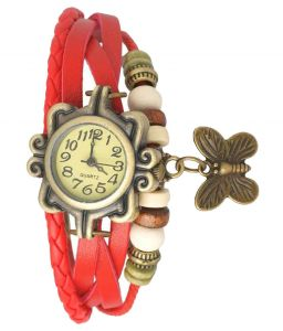 Mf Unique Red Leather Bracelet Vintage Star Women Wrist Watch