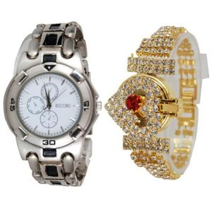 New Stylish 2 Watches For Men & Women Mfpw36201220