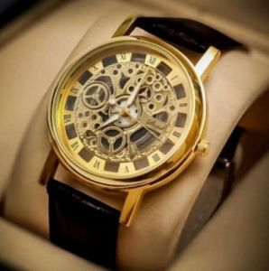 Men's Watches   Leather Belt   Analog - Brown Strap Golden Dial Skeleton Watch For Men