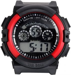"Rubber - Style Feather Black Rubber Digital Men""s Watch (product Code - Sf-sport-red27)"