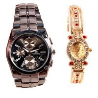 Ik Collection And Elle Golden Wrist Watch Set For Couble 105