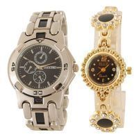 Buccino & Elle Golden Wrist Watch Set For Couple 295