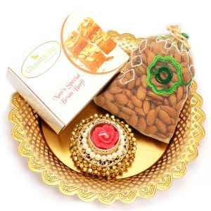 Diwali Thalis - Golden Almond Pouch and Nani's Specila besan Barfi Thali with Gungroo T- Lite