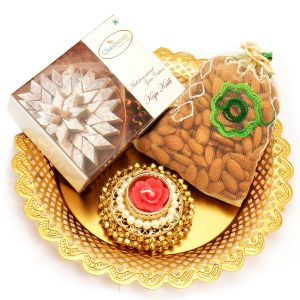 Golden Almond Pouch And Kaju Katli Thali With Gungroo T- Lite