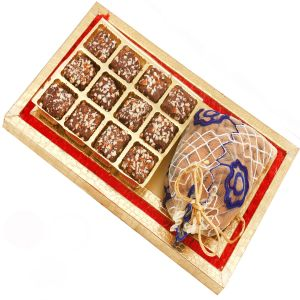 Chocolates Hamper - Red And Gold 8 PCs English Brittle Chocolates And Almond Box