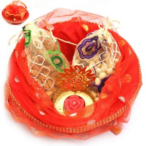 Hampers - Red Potli Basket With Almonds, Nutties Pouches And Om T-lite