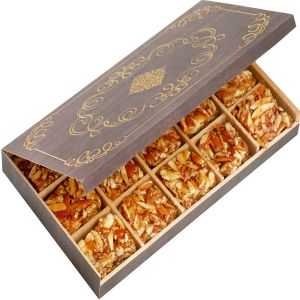 Diwali Mithais - Diwali Gifts Sweets-  Wooden 15 Pcs Roasted Almond Bites  Box