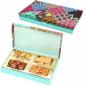 Diwali Gifts Diwali Hampers Pink Velvet Wooden Hamper Box With Almonds, Sugarfree Dates Figs Bites, Granula Bites And Roasted Namkeen 400 Gms