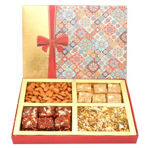 Diwali Gifts Diwali Hampers Printed Bow Hamper Box With Almonds, Sugarfree Dates Figs Bites, Granula Bites And Roasted Namkeen 400 Gms