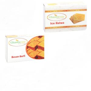 Mithai Hampers - Besan Barfi And Ice Halwa