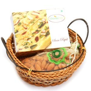 Small Cane Basket With Soan Papdi And Almonds Pouch