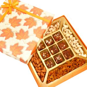 Diwali Gifts Healthy Hampers - Orange Print Dryfruits And 9 PCs Sugarfree Figs And Dates Bites