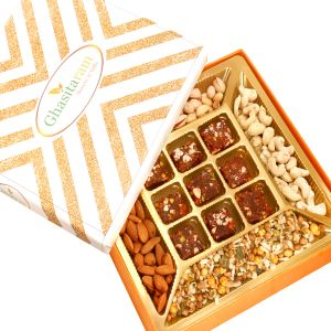 Diwali Gifts Healthy Hampers - Orange Print Almonds, Cashews, Pistachios, Roasted Protein Mix And 9 PCs Sugarfree Figs And Dates Bites