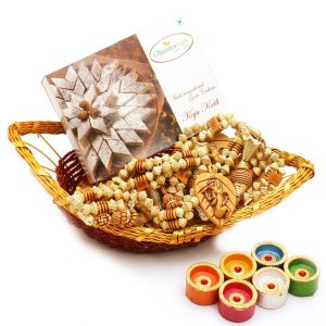 Boat Basket With Kaju Katli, Toran And Diyas
