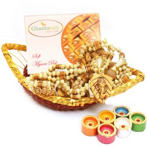 Boat Basket With Mysore Pak, Toran And Diyas