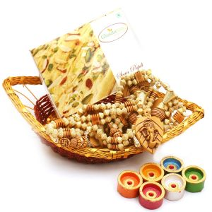 Boat Basket With Soan Papdi, Toran And Diyas