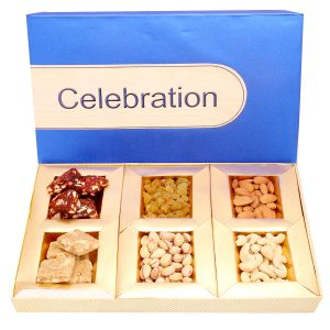 Diwali Gifts Diwali Hampers Blue Celebration Hamper Box With Sugarfree Dates And Figs Bites, Granula Bites And Dryfruits