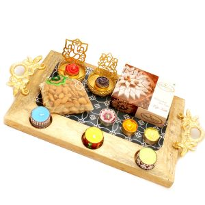 Big Wooden Serving Platter With Shadow Laxmi Ganesha T-lite, 6 T-lites, Kaju Katli And Almonds Pouch