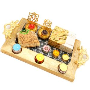 Big Wooden Serving Platter With Shadow Laxmi Ganesha T-lite, 6 T-lites, Soan Papdi And Almonds Pouch