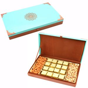 Green Wooden Hamper Box With Mewa Bites, Almonds And Pistachios