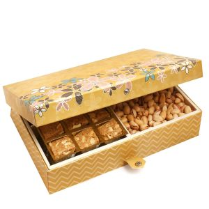 Diwali Gifts Diwali Hampers Gold 4 Print 12 PCs Granula Bites ,almonds And Pistachios Hamper Box