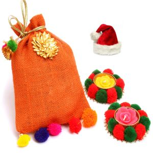Christmas Chocolates & Cookies - Christmas Gifts Colourful Roasted Almond Sugarfree Chocolates Pouch with 2 T-lites