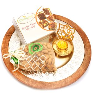 Diwali Gifts Diwali Hampers Silver Wooden Platter With Sugarfree Mix, Almonds Pouch And Ganesha T-lite