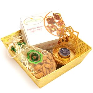 Diwali Gifts Diwali Hampers Yellow Basket Basket With Sugarfree Mix, Almonds Pouch With Ganesha T- Lite