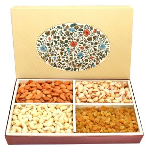 Dry Fruits - Diwali Dryfruits - 4 Part Echo Print Dryfruit Box 600 gms