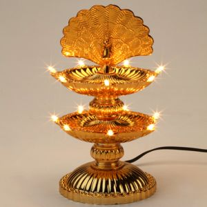 D14-14 Lights Peacock Diya- Diwali 2014