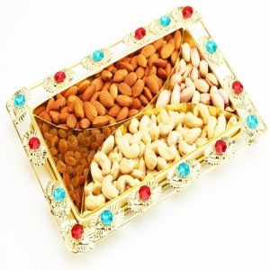 Dryfruit-color Beads Golden Dryfruit Tray