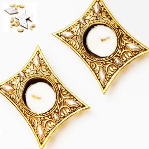 Ghasitaram Gifts-set Of 2 Golden Metal Rectangle T-lite