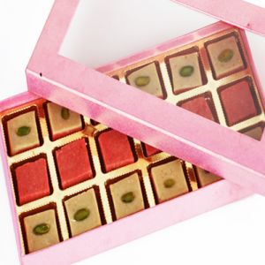 Sweets-ghasitarams Strawberry Squares In Pink Box