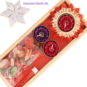 Diwali Candles Floating Candle Set With Potpourri (code - D15candlesetwithptpourri)