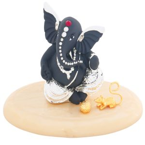 Ghasitaram Gifts -lm 5048 Grey And Silver Terracota Ganesha With Base