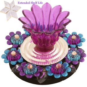 Ghasitaram Gifts -blue Purple Light Diya