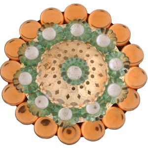 Ghasitaram Gifts -green Floating Light Diya